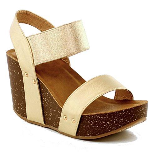 Women's Wedge Platform Sandal Elastic Ankle Strap High Heel Cork Slip On Casual Summer Shoes Champagne 9