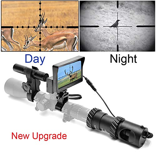 RHYTHMARTS [Upgrade] Digital Night Vision for Riflescope with CCD and Flashlight Outdoor Hunting
