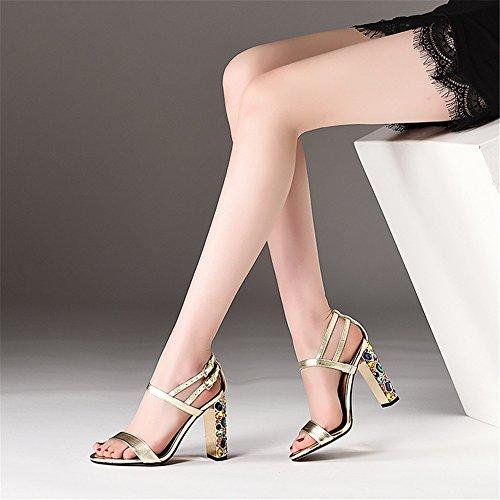 Bloc Noir Club Épaisses Cheville Taille Gold NVXIE Femme Strass Toe Chaussures Sandales Talon Open Or qwSWBFnICx