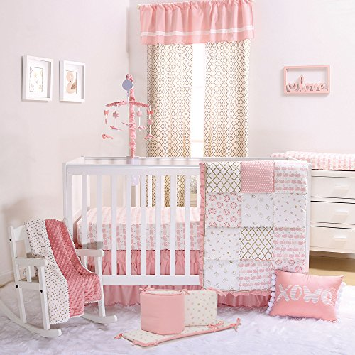Coral Pink Swan and Gold Trellis 5 Piece Crib Bedding Set by The Peanut Shell