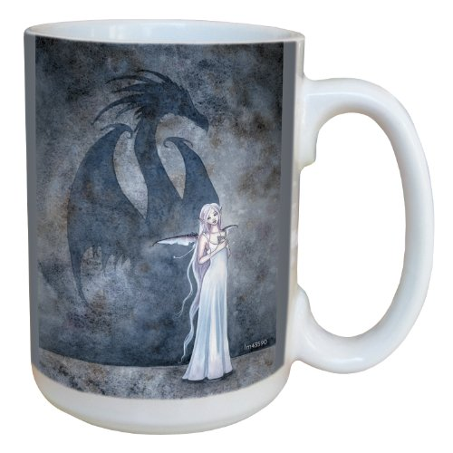Tree-Free Greetings lm43590 Fantasy Dragon Shadow with Fairy Ceramic Mug with Full Sized Handle by Amy Brown, 15-Ounce