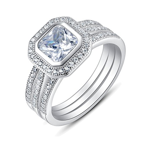 3 Pieces Sterling Silver Princess Cut Bezel Set Cubic Zirconia Bridal Engagement Wedding Ring - Wedding Bezel Ring
