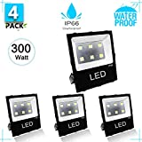300W LED Flood Light Outdoor Security Light Weatherproof Parking Lot Warehouse Perimeter Lighting Fixture [1500W Equivalent] High Power 39000lm 4000k Residential/Commercial Use 4 PACK