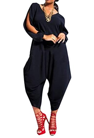 683692ade72 Amazon.com  Womens Fashion Split Solid Color Long Sleeve Loose Wide Leg  Romper Jumpsuits  Clothing