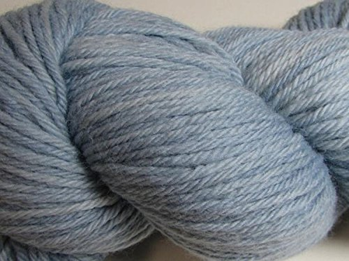 Wool Yarn - Worsted Weight, Naturally Dyed - Light Indigo Blue (50 Gram Skein)