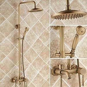 HH- latón envejecido bañera grifo de la ducha con 8pulgadas cabezal de ducha + ducha de mano