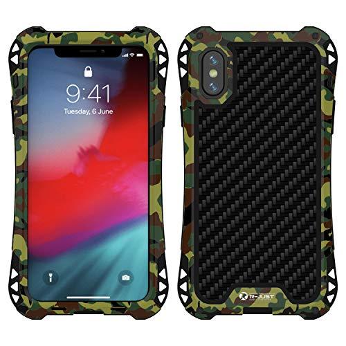 Simicoo iPhone XS Max Neo Hybrid Aluminum Metal Bumper Military Heavy Duty Dual Layer Flexible Silicone TPU Carbon Fiber Rugged Hard Shockproof Case for iPhone XS Max (Camouflage, iPhone XS Max)