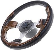Dolity 320mm Aluminum Alloy Marine Boat Pontoon Steering Wheel 3 Spoke 3/4