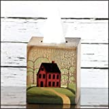 Tissue Box Cover - Primitive House / Home with Weeping Willow Tree - Perfect for Primitive and Country Decorating