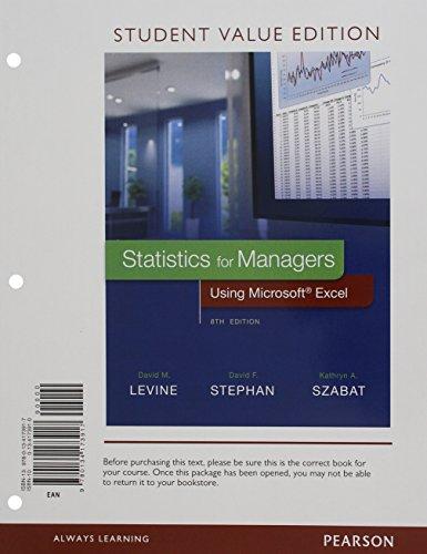 Stat.F/Mgrs.Using Ms Excel (Looseleaf)