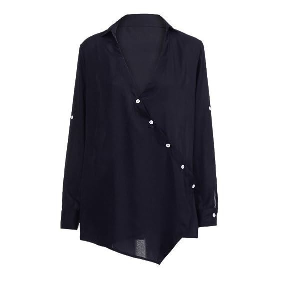 Blusa para Mujer,❤ Modaworld Moda Camisetas de Manga Larga con Cuello en v para Mujer Blusa Suelta Blusas Casuales Camisas Mujer Elegantes Largo Fiesta: ...