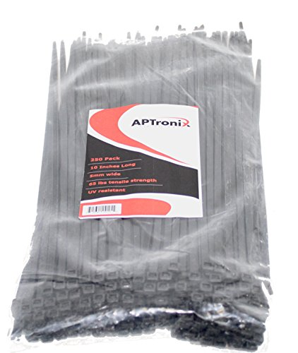 250 Premium Heavy Duty 10 Inch Zip Ties | Black Nylon Cable Ties | XGS Wire Ties by APTronix (10 Inch, Black) by APTronix (Image #6)