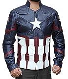 Decrum Captain America Civil War Cosplay Avenger Infinity War Leather Jacket PU | Blue, M
