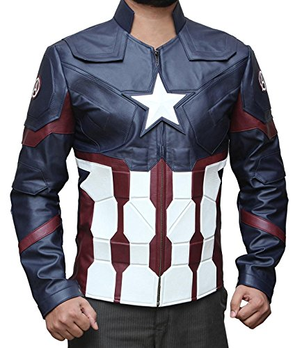 Decrum Captain America Civil War Cosplay Avenger Infinity War Leather Jacket PU | Blue, M by Decrum