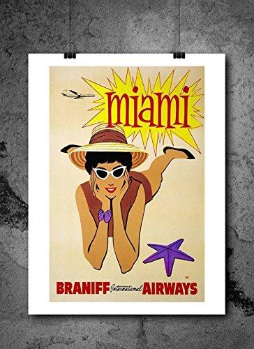 Miami Vintage Travel Braniff Airways Flight Travel Poster Print 8x10