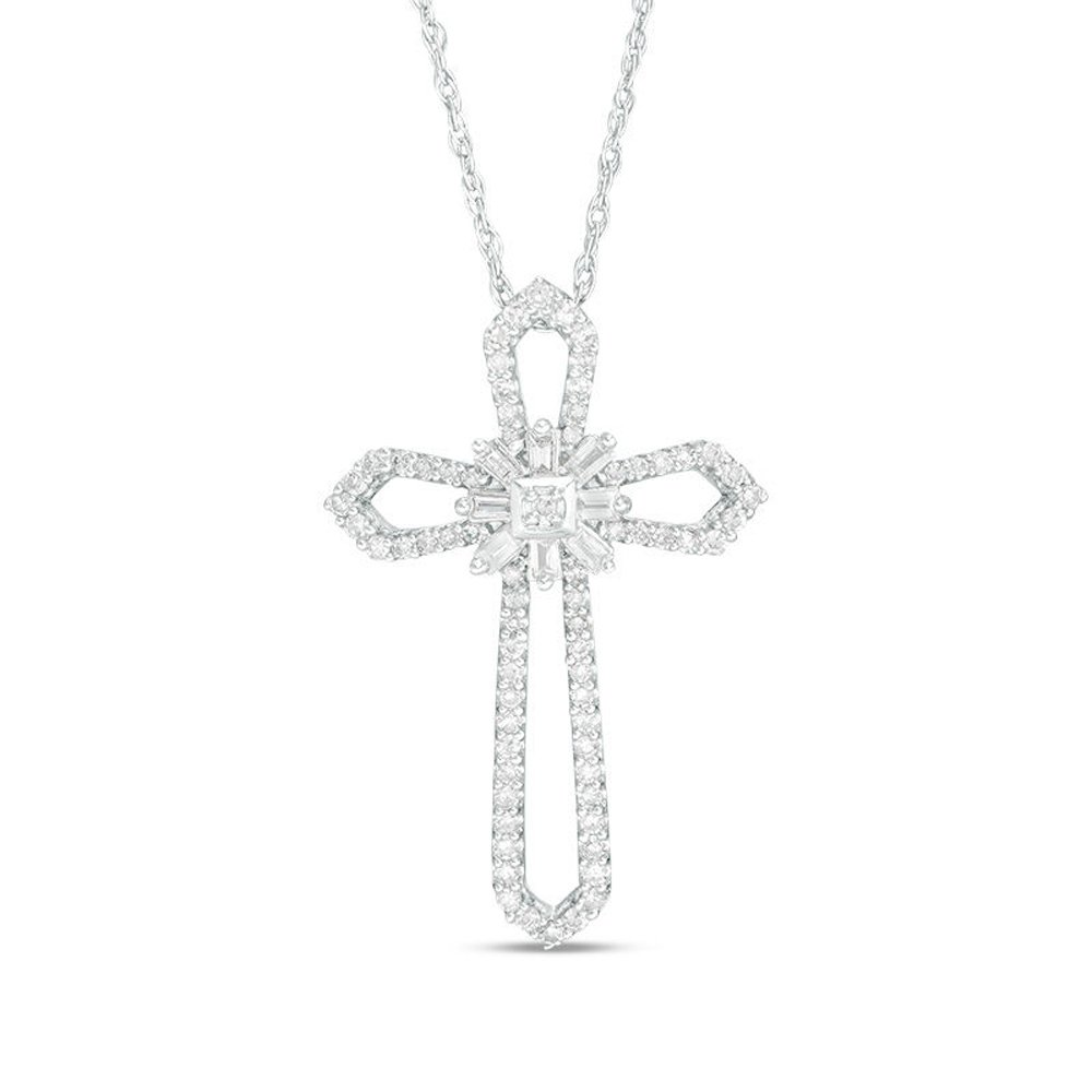 Triostar 925 Sterling Silver 14K Gold Plated CZ Diamond Studded Religious Cross Pendant Jewelry