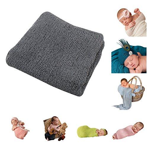 JLIKA Newborn Baby Photography Photo Prop Stretch Wrap (Dark Gray) Dark Gray Cloth