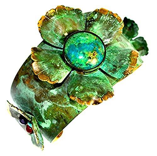 - Verdigris Patina Sculptural Floral Cuff Bracelet - Chrysocolla