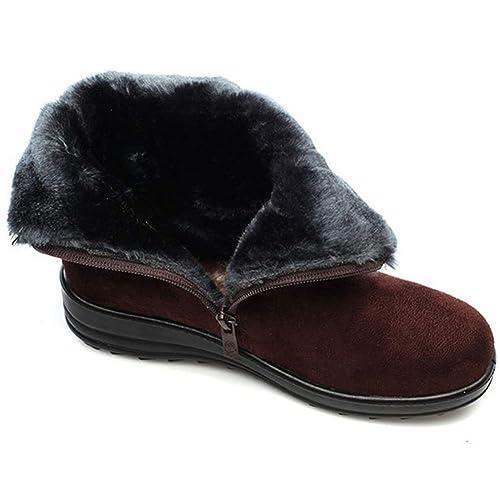 Botas De Nieve para Mujer Zapatos CláSicos De Australia Botones De TacóN Bajo Tejido De AlgodóN Bandada Interior Cremallera De Cuero Suave Short Botines: ...