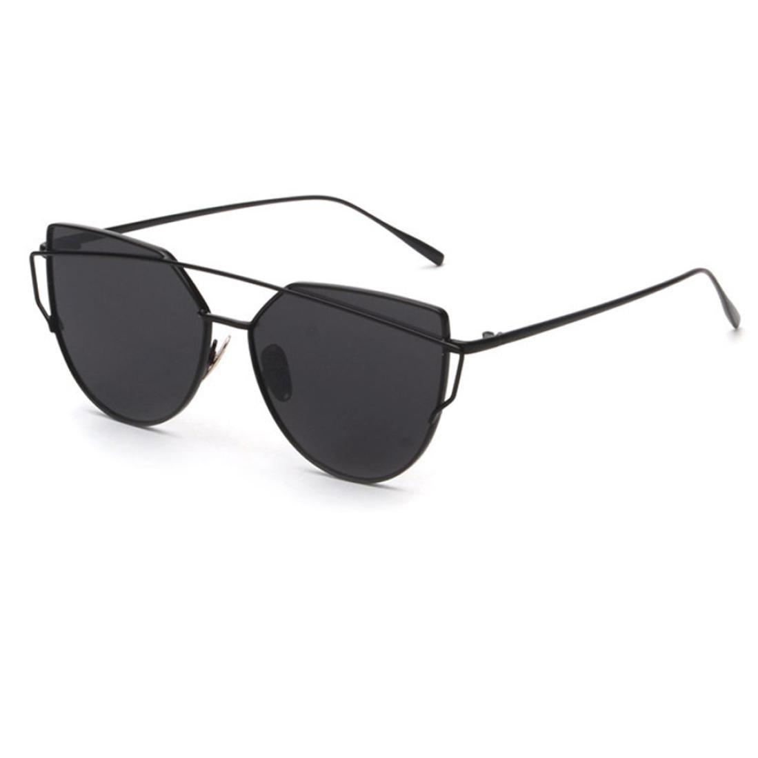 Amlaiworld Occhi di gatto occhiali,Moda occhiali da sole classici di Twin-travi,Donne metallo occhiali da sole specchio per viaggiare (Nero)