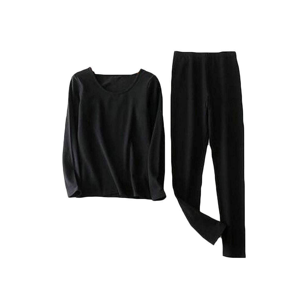 GH Womens Baselayer Plus Size Warm 2PCS Thermal Underwear Sets Black 3XL