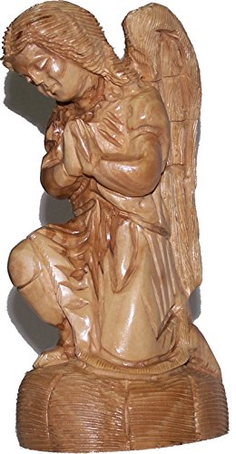 Praying kneeling Angel - carved in olive wood ( 19cm or 7.5 Inches ) by Holy Land Market (Image #2)