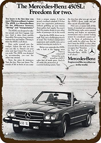 - Yilooom 1975 Mercedes Benz 450sl Convertible Car Vintage Look Replica Metal Sign 7