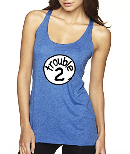 New Way 722   Womens Tank Top Trouble 2 Two Dr Seuss Thing Parody Xs Royal Blue