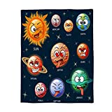 Flannel Fleece Bed Blanket 60x80 inch Outer Space Throw Blanket Lightweight Cozy Plush Blanket for Bedroom Living Rooms Sofa Couch - Solar System Educational Children's Playtime Learning Galaxy Nebula