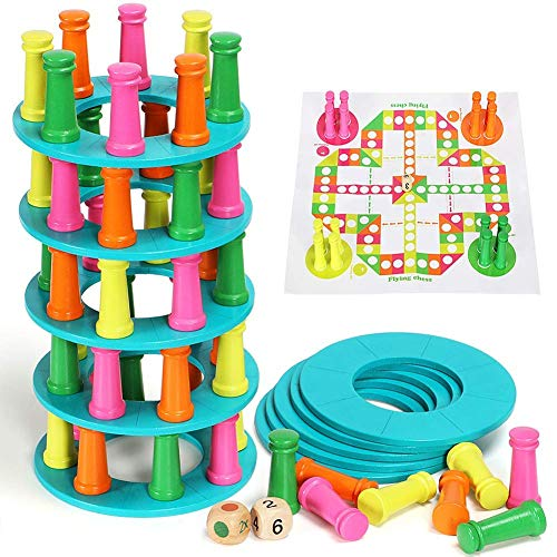 2 in 1 タワー折りたたみスタッキングゲーム コラムブロック 木製フライングチェスボードゲーム 子供用