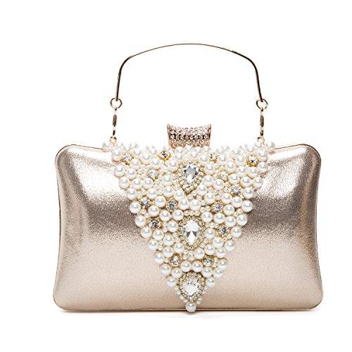 Lifewish Elegante de las mujeres Rhinestones de sobre Hard embrague Pearl Evening Bag para dorado