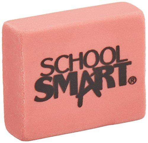 School Smart Latex Free Block Eraser,1 1/8 x 15/16 x 3/8- Inch, Pink, Box of 80 (000786) (School Blocks)