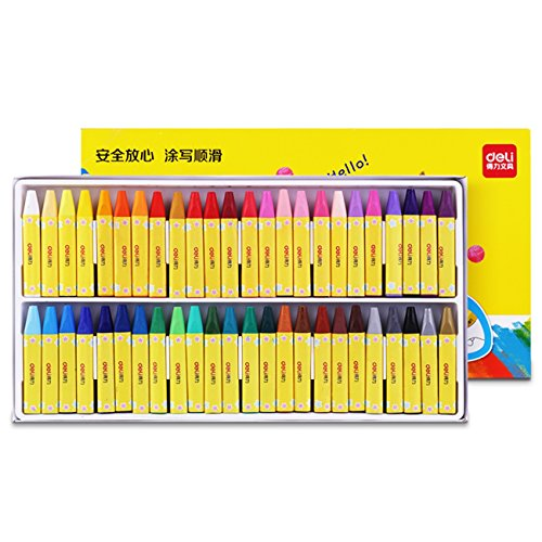 Deli Wax Kids Oil Painting Stick Candy Color Crayon Child Safety Non-Toxic Pastel (Deli 72082 Oil Painting Stick 48 Color 1 Set 得力72082油画棒48色1盒)