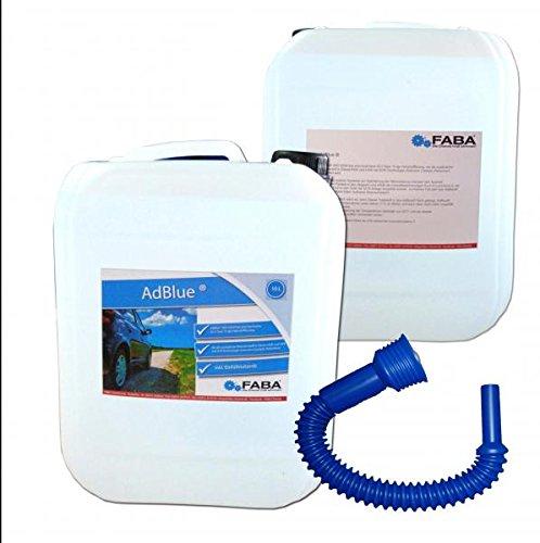 AdBlue hochreine Harnstofflö sung fü r SCR Abgasnachbehandlung 2x10 Liter mit Einfü llschlauch FABA