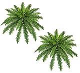 TWO 40'' Spread Artificial Boston Fern 48 Leaves Silk Hanging Bush Tree Plant
