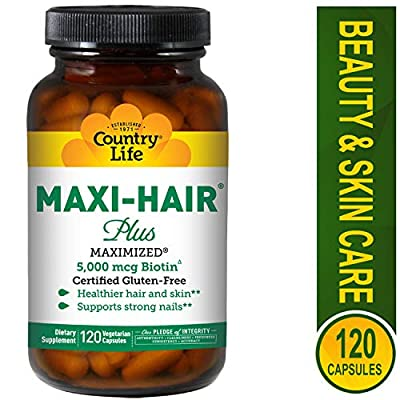 Country Life - Maxi-Hair Plus with 5000 mcg of Biotin - 120 Vegetarian Capsules