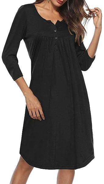 c8a179e7a1ad Joe Wenko Womens Half Sleeve Shift Autumn Casual Loose V-Neck Dresses at  Amazon Women s Clothing store