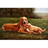 Oil painting 'Dogs Playing on the Grass' printing on high quality polyster Canvas , 16x24 inch / 41x61 cm ,the best dining Room decoration and Home decor and Gifts is this Imitations Art DecorativePrints on Canvas
