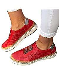 Womens Outdoor Sneakers Casual Hollow-Out Round Toe Slip On Shoes Flat,2019 New