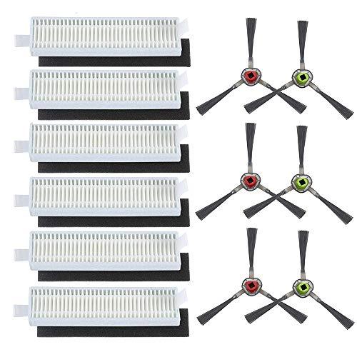HKCH High Efficiency Filter&Sponge Filter Side Brush kit Replacement for ECOVACS DEEBOT Slim DA60 SLIM2 DA5G Slim NEO Robotic Vacuum Cleaner -Total 18 Pcs (Filter+Side Brush)
