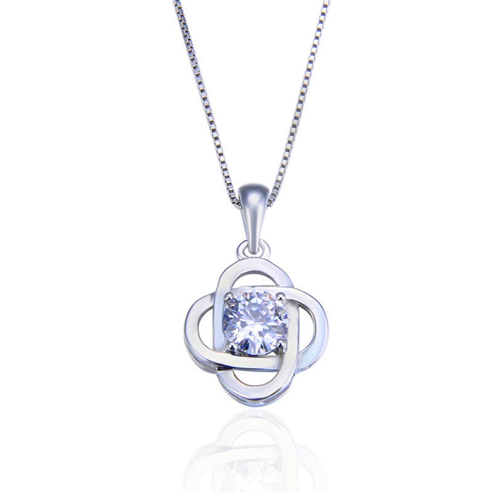 Four-Leaf Clover Pendant Chain Elegant Fashion Hipster Accessories Gifts for Friends And Family S925 Sterling Silver Necklace with Zircon