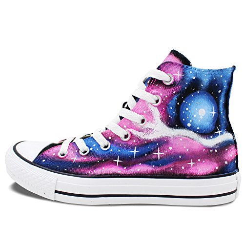 Wen Original Design Pink Galaxy Stars Nebula Handgeschilderde Canvas Schoenen Sneakers