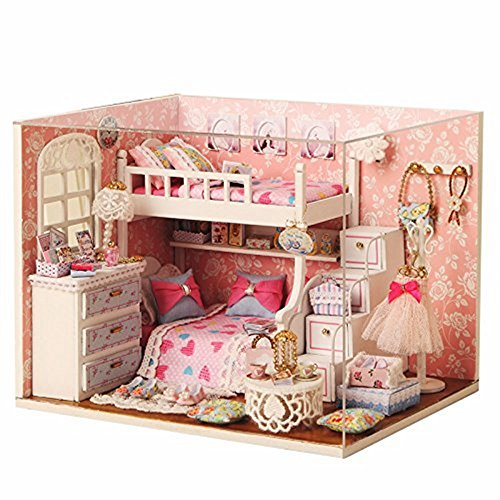 Miniature Toy Wood (Dollhouse Miniature DIY Kit with Cover and LED Wood Toy Doll House Room Model Handcraft Birthday Gift Angel Dream)