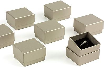 ESTUCHES CARMON Pack 60 Cajas para Sortija Anillo Forradas de Papel Color Champagne. Interior en Espuma Aterciopelada Negra: Amazon.es: Joyería