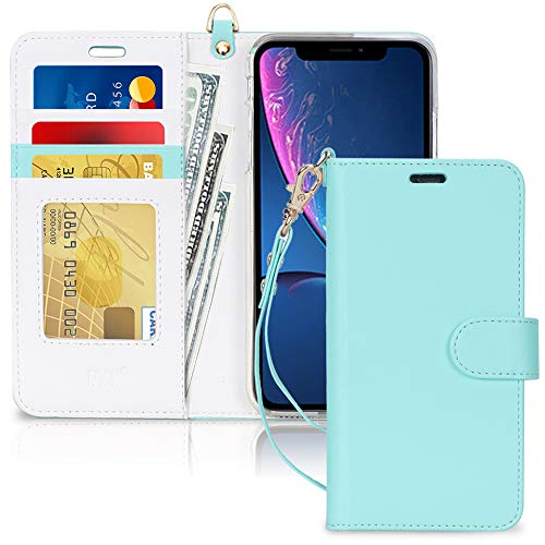 """FYY Luxury PU Leather Wallet Case for iPhone Xr (6.1"""") 2018, [Kickstand Feature] Flip Folio Case Cover with [Card Slots] and [Note Pockets] for Apple iPhone Xr (6.1"""") 2018 Mint Green"""
