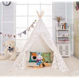 AniiKiss 6' Giant Canvas Kids Play Teepee Children Tipi Play Tent - Lace Door and Window