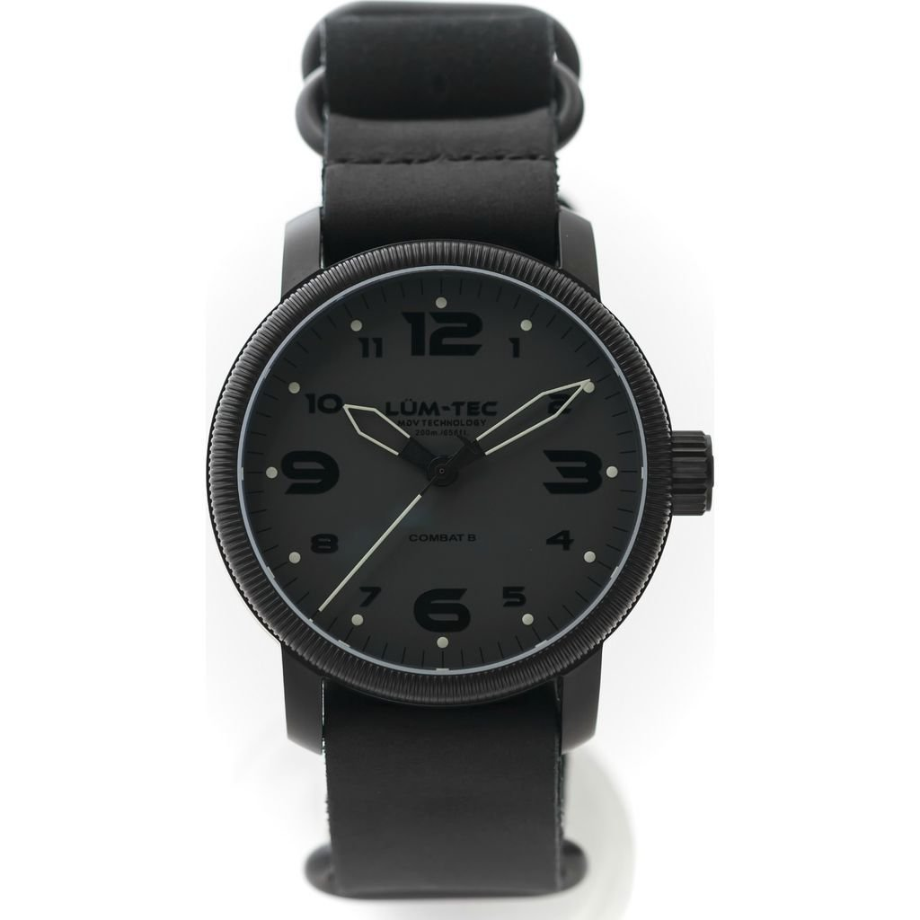 Lum-Tec B39 Phantom Watch | Leather Watch Band - Black
