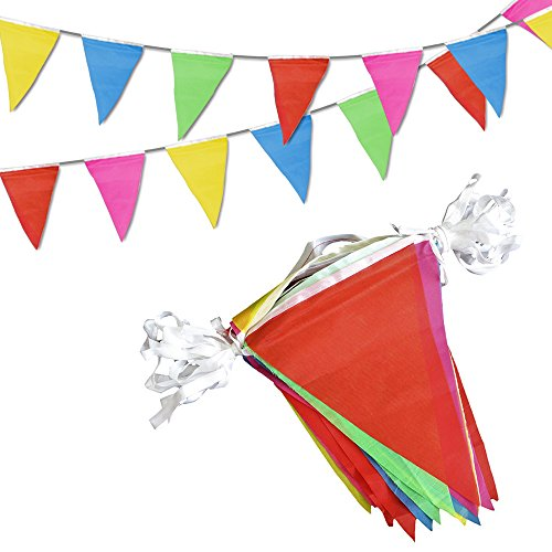 Novelty Place 100 Feet Pennant Banner - 75 Multicolor Bunting Flags - Birthday Party Grand Opening Christmas Decorations ()