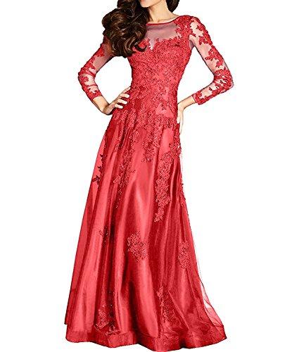 Abendkleider mia Braut Brautmutterkleider Spitze Rot La Formal Festlichkleider Langarm Lang Damen Ballkleider FXAqRw