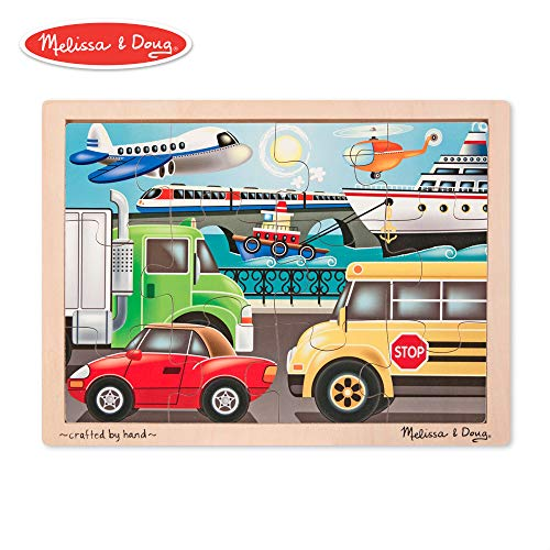 - Melissa & Doug On-the-Go Vehicles Wooden Jigsaw Puzzle With Storage Tray (12 pcs)
